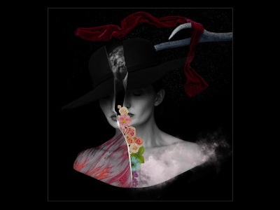 Memorial dark night flower thoughts woman photoshop graphicdesign graphic