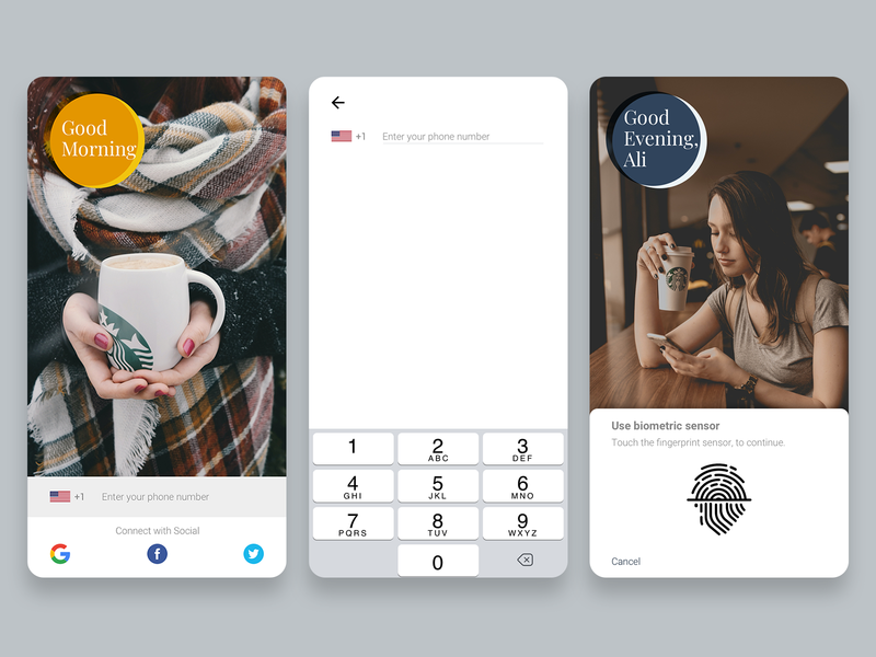 Login & Sign Up - Daily UI 001 ux user experience user interface ui register form dailyui 001 dailyui biometric coffee mobile app login page login
