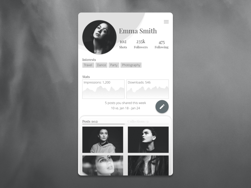 User Profile - Daily UI 006 visual design daily ui 006 daily ui dailyui instagram grey black and white app design mobile app user profile minimal user experience user interface ux ui