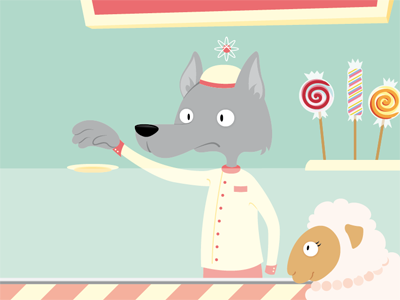 Norb´s Shakes´n´Sweets childrens book wolf sheep digital illustration
