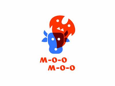 Moo-Moo restaurant barbecue vector illustration logotype logosmyk logodesign design logofolio branding logo