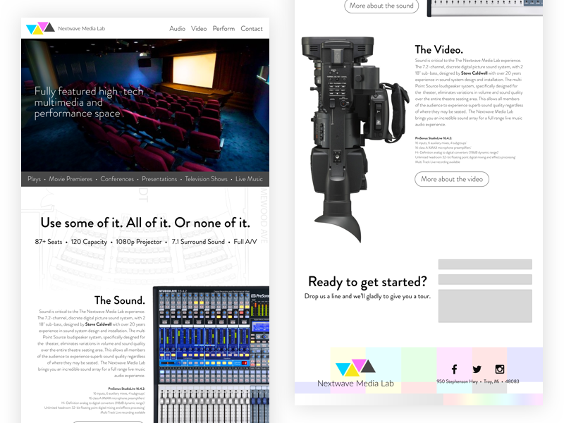 Nextwave Media Lab Refresh #Throwback branding marketing single page throwback