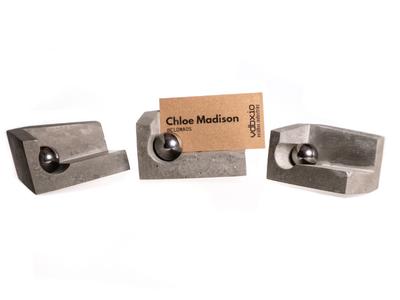 Concrete Business Card Holder w/ Neodymium Magnet & Steel Ball