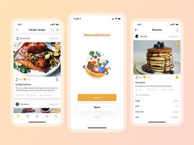 MerryKitchen app design social mobile application kitchen cooking app ui ux mobile app