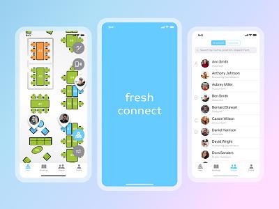 fresh connect colleague coworking smart office mobile application design ux ui mobile app