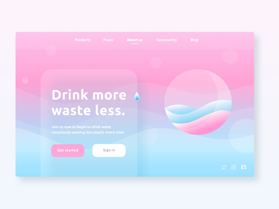 Drink more, waste less gradient color zerowaste eco sea waves water drink inspiration uxdesign ux uidesign ui minimal design app