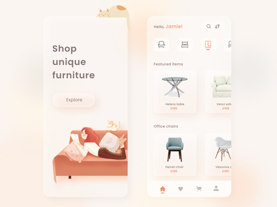Furniture shop online store furniture store blur color sofa chair buy online ecommerce shop ecommerce furniture cat inspiration uxdesign ux uidesign ui minimal design app