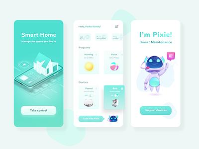 Smart home help green robot home color smart home smart smarthome illustration inspiration uxdesign ux uidesign ui minimal design app