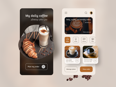 Daily Coffee beans colors autumn mobile shopping app pastries cake ecommerce order coffee shop coffee inspiration uxdesign ux uidesign ui minimal design app
