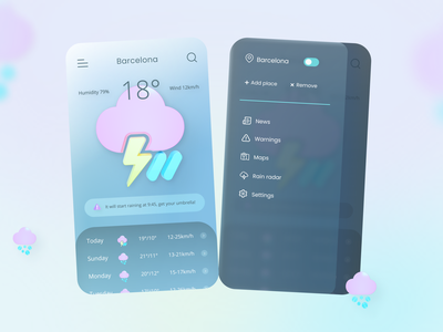 Weather app glassmorphism 3d gradient colorpalette colors location wind storm rainy weather app weather mobile uxdesign ux uidesign ui minimal inspiration design app
