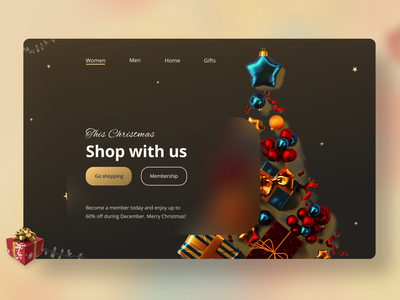 Christmas-themed UI ecommerce golden simple dark darkmode lights christmas website shop fashion landingpage colors ecommerce uxdesign ux uidesign ui minimal inspiration design app