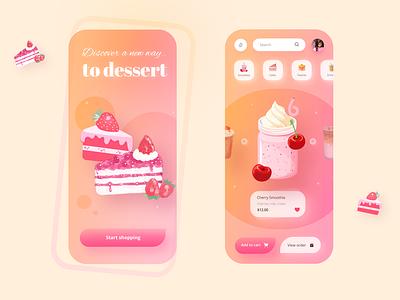 Dessert Ecommerce online shop buy drinks smoothie pink colorful colors palette gradient colors ecommerce mobile uxdesign inspiration design ux uidesign ui minimal app