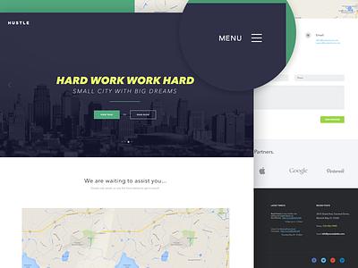 Hustle | Hard work work hard wordpress ui modern flat page design web clean website music theme template