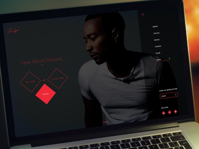 John Legend Personal Page john legend ui webdesign homepage flat clean modern music artist web page