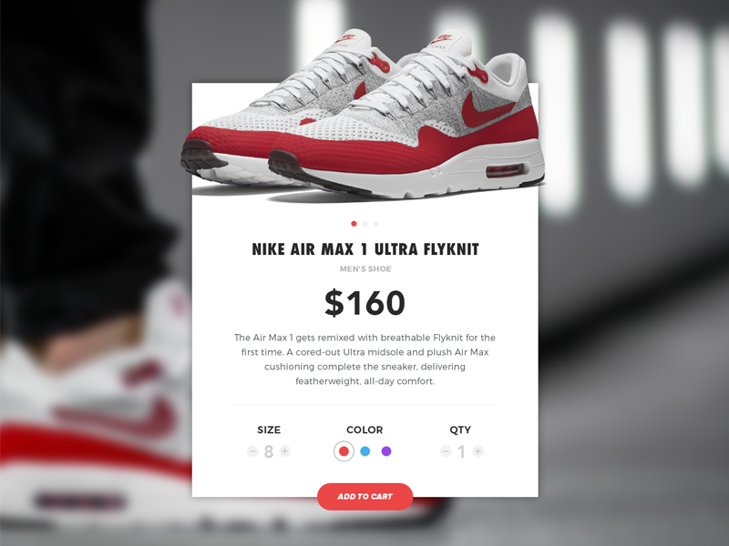 Nike Store • Add To Cart E-commerce flat web ux add to cart branding simple clean ui store nike shop e-commerce