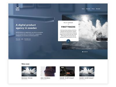 Agency •Blue user experience user interface ux ui simple minimal clean web homepage flat design landingpage