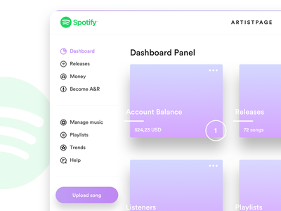 Spotify Artistpage / Dashboard gradients user experience user interface ux ui simple minimal clean web spotify design dashboard