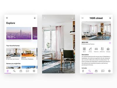 Buy Real Estate App ux interface user experience ui real estate minimal ios home flat design clean app