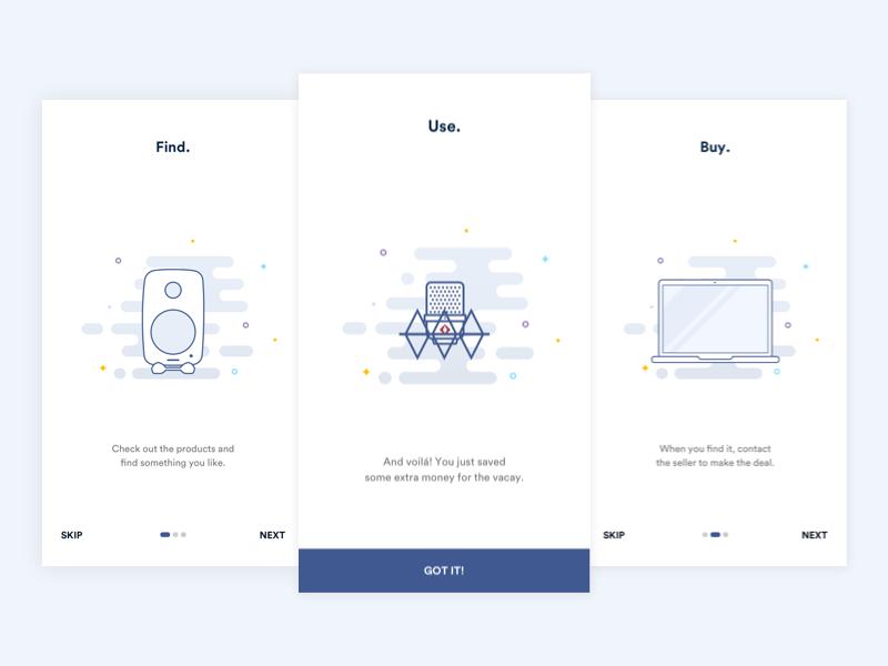 Onboarding Screens ux ui minimalistic clean simple illustration minimal flat ios app onboarding