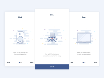 Onboarding Screens ux ui minimalistic clean simple illustration minimal flat ios app onboarding