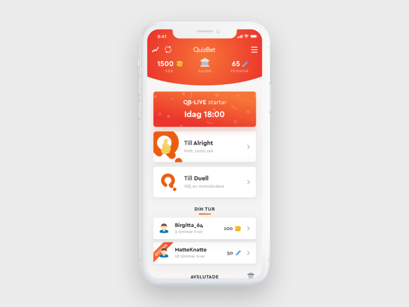 QuizBet Overview game orange clean gradient quiz app ios flat ui