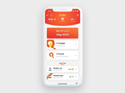 QuizBet Overview game orange clean gradient quiz app ios flat ui