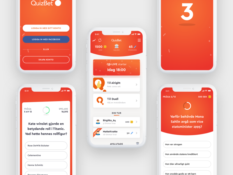 QuizBet App Screens simple minimal game quiz user interface illustration vector gradient design app flat ui