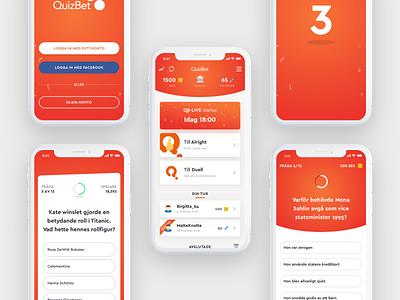 QuizBet App Screens simple minimal game quiz user interface illustration vector gradient design app flat ui
