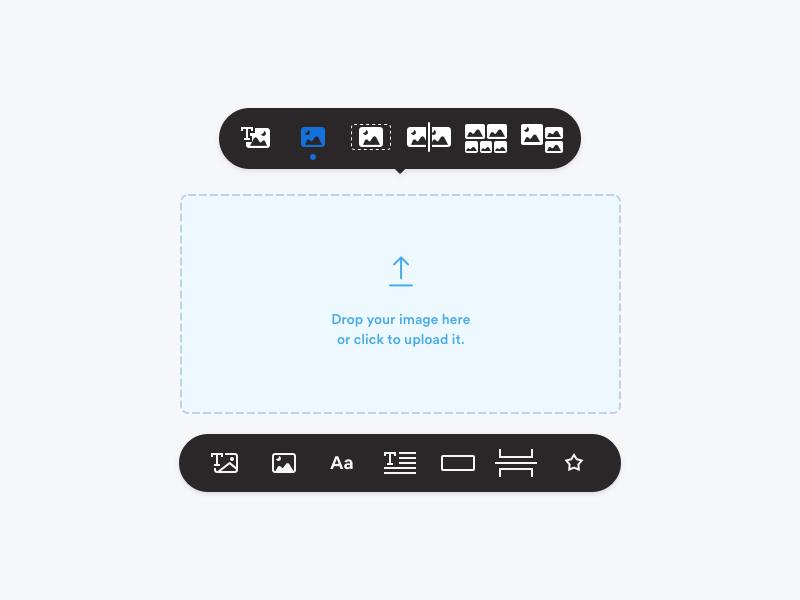 Builder - Toolbar image upload web app modern flat simple dark mode minimal user experience user interface ui ux design drag and drop drag n drop builder toolbar