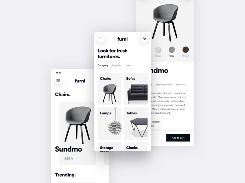 Furni - Light E-commerce App ui-kit shadow furniture shop modern gradient e-commerce minimalistic ios user interface user experience design simple app ux minimal flat clean ui