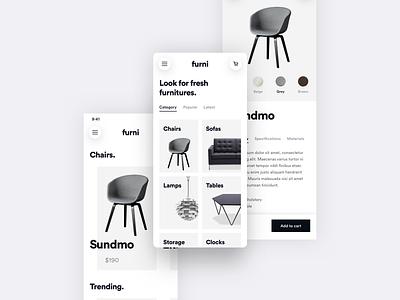 Furni - Light E-commerce App ui-kit shadow furniture shop modern gradient e-commerce minimalistic ios user interface user experience design simple app ux minimal flat clean ui