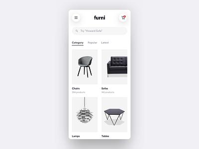 Furni - Light E-commerce App - Part 2 search categories explore dashboard white design shop e-commerce modern minimalistic ios user interface user experience simple app ux minimal clean flat ui