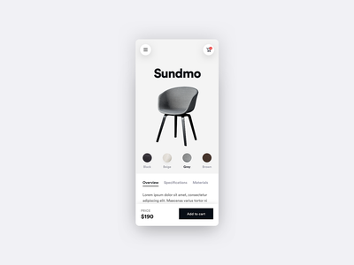 Furni - Product Page - E-commerce App - Part 3 color palette shadow flat minimal ios design app user experience ux ui user interface modern e-commerce app e-commerce shop simple design white product page product search