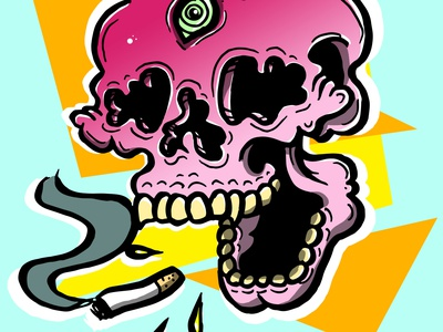 Crazy Skull digitalart digital color drawing color illustration artwork design photoshop illustration drawing candy skull candy skulldrawing skull crazy
