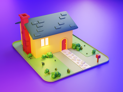 Low-poly House diorama isometric design lowpolyart lowpoly3d lowpoly isometric design color concept cycles blendercycles blender3d blender 3d art 3d