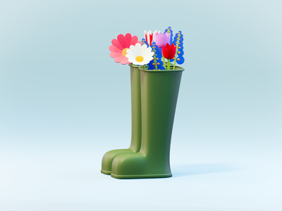 Spring time low poly design concept lowpoly3d low poly lowpoly illustration digital minimal artwork 3d artist spring flower boots 3d art render eevee blender3d color blender 3d