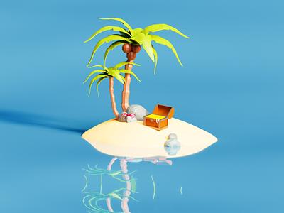Lonely island low poly art digital cycles blue low poly lowpoly 3d art illustration blender3d blender color 3d design