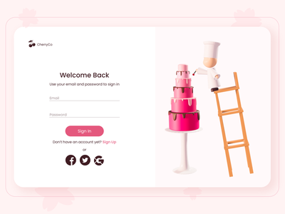 Cake Sign-in page pink cake sign uxui uixu homepage ui landing page landingpage lowpolyart illustration interface ux ui lowpoly blender3d blender concept 3d design