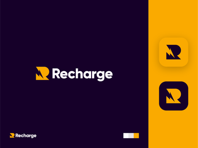 Recharge identity branding power recharge charge bolt icon app logo