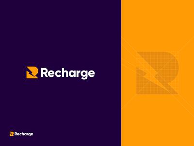 Recharge V2.0 grid branding power logo identity icon battery recharge lightning fast bolt app