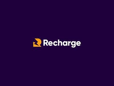 Recharge logo design branding identity logo recharge lightning battery power bolt