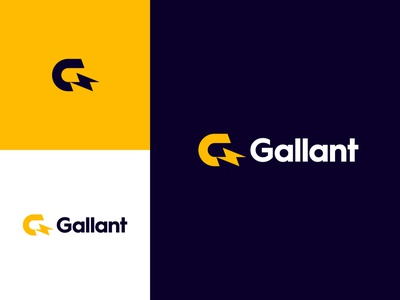 Gallant graphic design yellow identity branding logo logo design gallant lightning bolt monogram