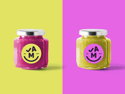 JAM branding identity fun logo smile food fruit jar packaging jam
