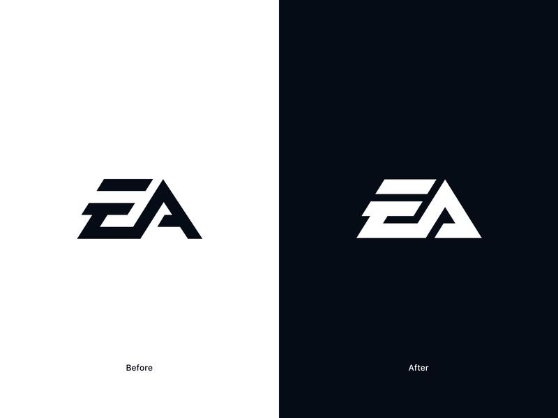 EA brand identity monogram identity gaming logo gaming ea electronic arts