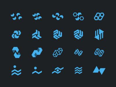 N Logo Iterations dna science medical geometric hexagon branding brand identity identity logo
