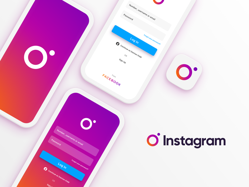 Instafresh brand identity identity logo redesign refresh gradient login splash instagram