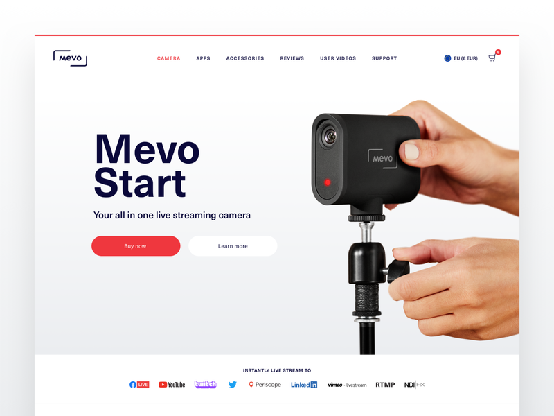 MEVO Dotcom shopify wireless camera mevo live streaming camera website web design user interface ui product design product marketing ecommerce commerce