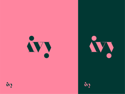 ivy logodesign logo green pink nature plants ivy typography type brand identity branding