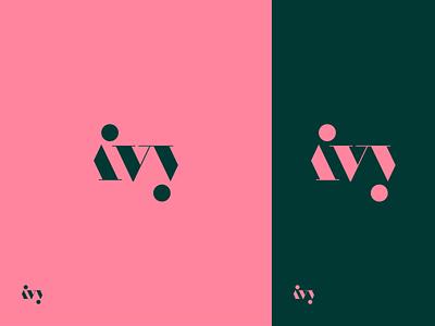 ivy logodesign logo green pink nature plants ivy typography type brand identity branding
