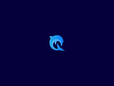 Dolphin brand identity branding tech logo design gradient mammal logo
